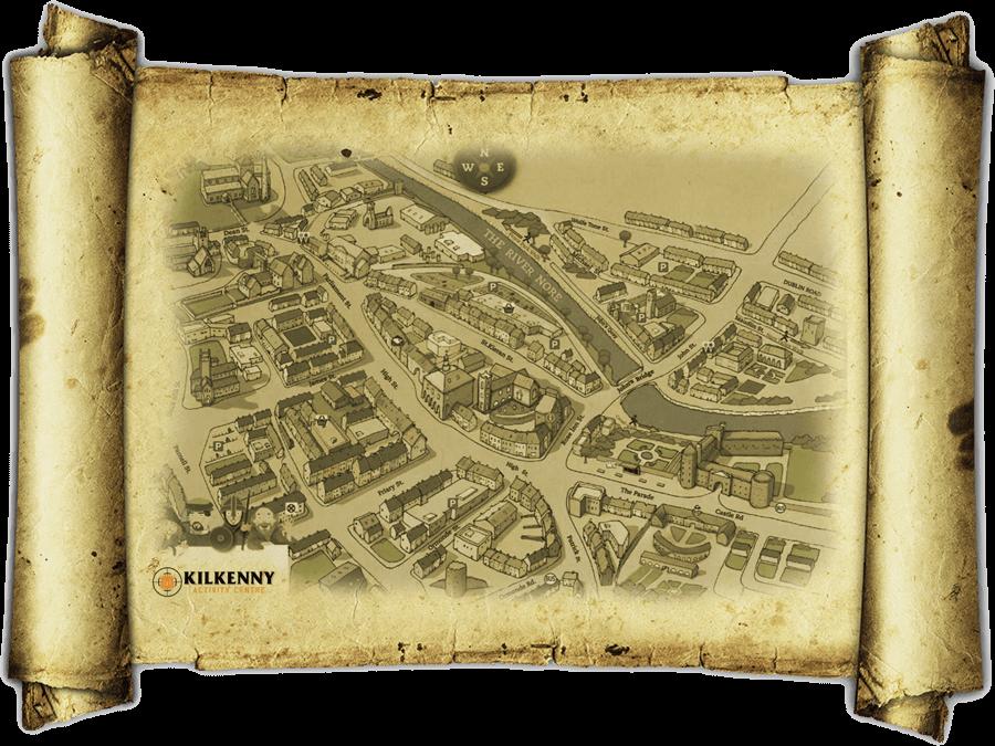 A Treasure Hunt Map with the Kilkenny Activity Centre logo.