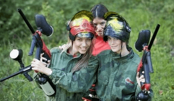 Hen Parties Kilkenny Hen Party Kilkenny Three girls in camouflage gear pose with paintball guns and masks.