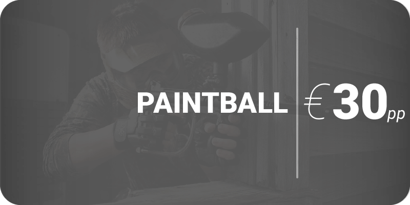 Advertisement of Paintball for €30pp on black background
