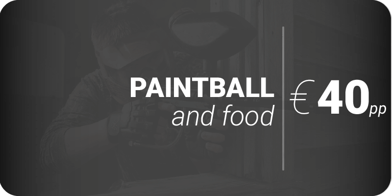 Advertisement for paintball and food for €40pp on black background.