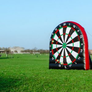 A giant dart board for archery darts and foot darts offered as a hen activity by Hen Parties Kilkenny