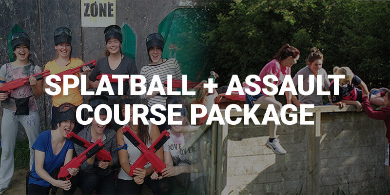 Hen Parties Kilkenny Banner ad for Splatball and Assault Course Package with a group of hens holding Splatball guns and other ladies climbing a wall on the obstacle course.