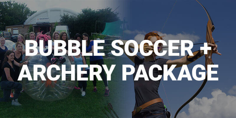 Banner ad for Bubble Soccer + Archery Package with la hne party in the background posing with a bubble ball and another lady shooting a bow and arrow.