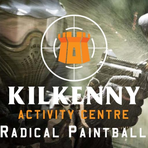Kilkenny Activity Centre Radical Paintball advertised with background of paintball player.